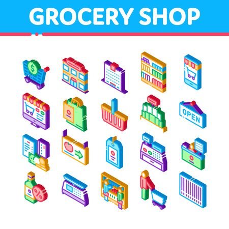Grocery Shop Shopping Icons Set Vector. Isometric Internet Grocery Shop Or In Super Market, Scales And Cash Machine Illustrations