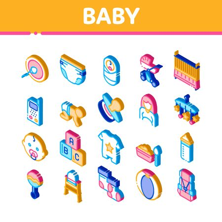 Baby Clothes And Tools Icons Set Vector. Isometric Baby And Pregnancy Woman, Stroller And Diaper, Toys And Nipple Illustrations