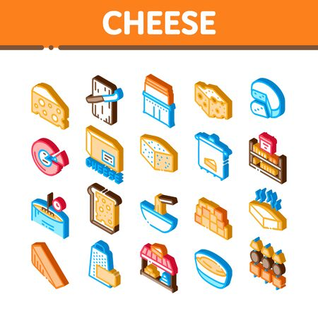 Cheese Dairy Food Icons Set Vector. Isometric Cheese On Sliced Bread Sandwich Breakfast And Milky Product Piece, Grater And Cut Board Illustrations