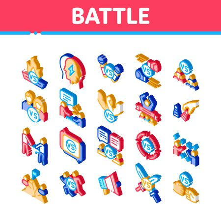 Battle Competition Icons Set Vector. Isometric Champion Battle, Box And Run Sport Championship, Chess And Karaoke, Loudspeaker And Sword Illustrations