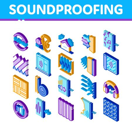 Soundproofing Building Material Icons Set Vector. Isometric Of Soundproofing Windows And Roof, Wall Insulation And Floor Covering Illustrations