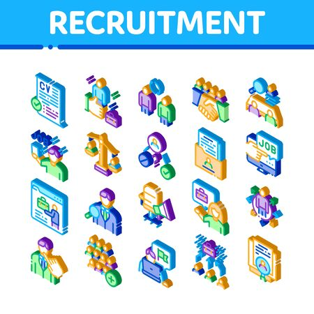 Recruitment And Research Employee Icons Set Vector. Isometric Curriculum Vitae Cv And Professional Career, Interview And Recruitment Illustrations Ilustracja