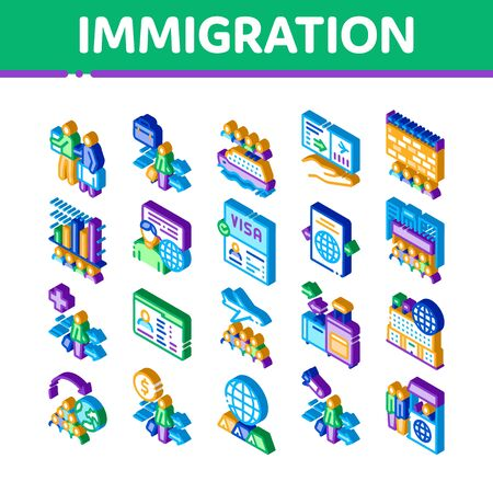 Immigration Refugee Icons Set Vector. Isometric Immigration Person With Baggage, Passport And Visa, Cruise Liner Voyage And Airplane Illustrations Vettoriali