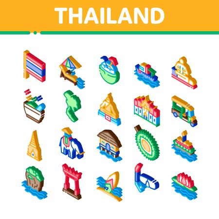Thailand National Icons Set Vector. Isometric Thailand On Geography Map And Flag, Bungalow And Building, Elephant And Tuktuk Illustrations