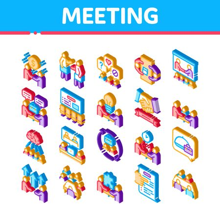 Business Meeting Conference Icons Set Vector. Isometric Business Meeting And Seminar, Businessman Partnership, Communication And Talking Illustrations Ilustracja