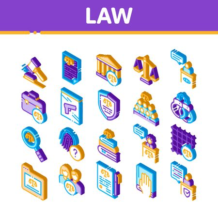 Law And Judgement Icons Set Vector. Isometric Courthouse And Judge, Gun And Magnifier, Fingerprint And Suitcase, Law Document Illustrations Иллюстрация