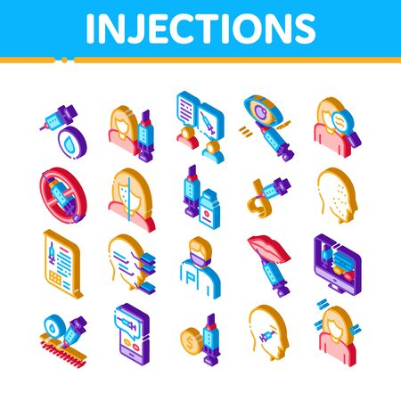 Injections Elements Icons Set Vector. Isometric Anti-ageing Treatments Procedure, Fillers Medical Cosmetic Injections Illustrations
