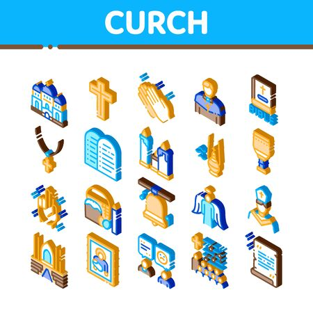 Church Christianity Icons Set Vector. Isometric Church Building And Interior, Christian Religion Bible And Cross, Candles And Bell Illustrations Çizim