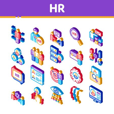 Hr Human Resources Icons Set Vector. Isometric Hr Management And Research, Strategy And Interview, Brainstorm And Disscusion Illustrations