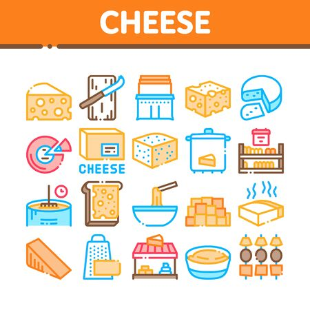 Cheese Dairy Food Collection Icons Set Vector. Cheese On Sliced Bread Sandwich Breakfast And Milky Product Piece, Grater And Cut Board Concept Linear Pictograms. Color Illustrations