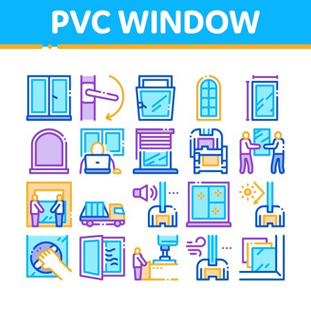 Pvc Window Frames Collection Icons Set Vector. Pvc Window Architectural Glass Building Detail And Handle, Carrying Truck And Jalousie Concept Linear Pictograms. Color Illustrations