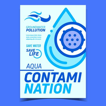 Aqua Contamination Creative Promo Banner Vector. Water Drop Contamination With Unhealthy Bacteria, Groundwater Pollution Advertising Poster. Concept Layout Stylish Colorful Illustration