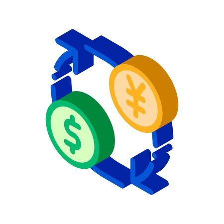 Currency Money Dollar Yen vector isometric sign. color isolated symbol illustration Illusztráció