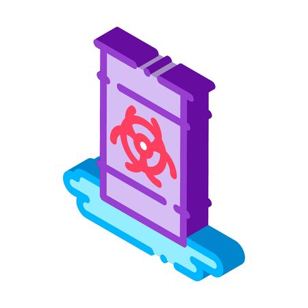 Nuclear Waste Container vector isometric sign. color isolated symbol illustration