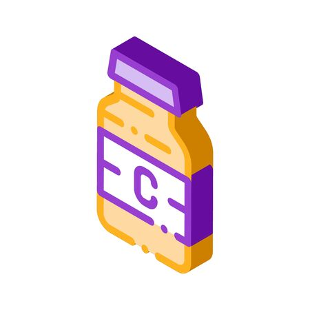Bottle Vitamin Nutrition vector isometric sign. color isolated symbol illustration