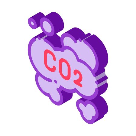 Co2 Smoulder Smoke Steam Air vector isometric sign. color isolated symbol illustration