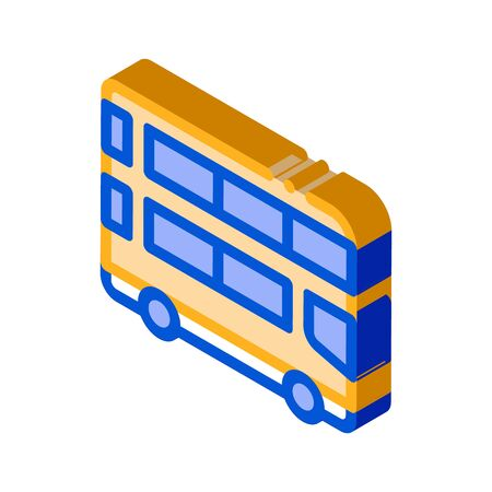 Public Transport Double-decker Bus vector isometric sign. color isolated symbol illustration