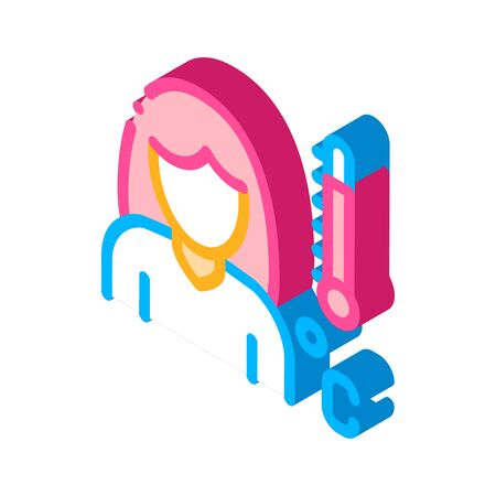 Head Rush Girl Symptomp Of Pregnancy vector isometric sign. color isolated symbol illustration