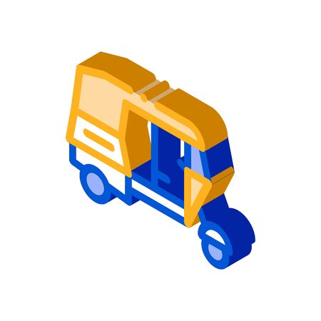 Public Transport Rickshaw vector isometric sign. color isolated symbol illustration 일러스트