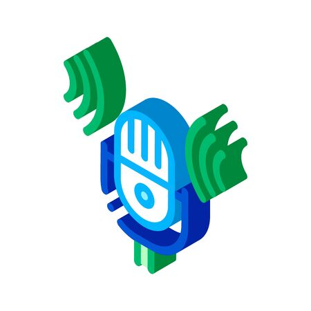 Sound Microphone Voice Control Icon Vector isometric sign. color isolated symbol illustration