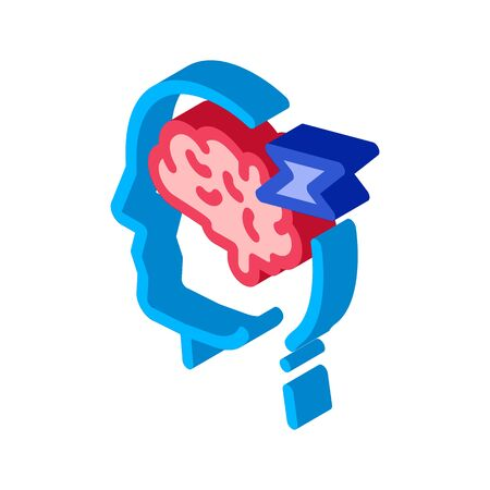 Brain Lightning Volt Silhouette Headache vector isometric sign. color isolated symbol illustration