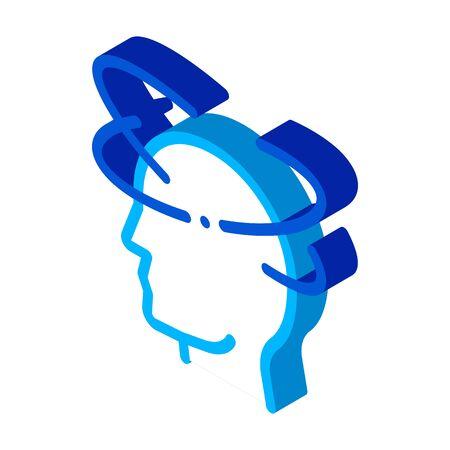 Vertigo Dizziness Man Silhouette Headache vector isometric sign. color isolated symbol illustration 写真素材 - 148406751