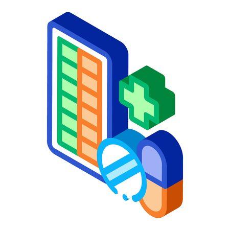 Pharmacy Biohacking Icon Vector isometric sign. color isolated symbol illustration Ilustração