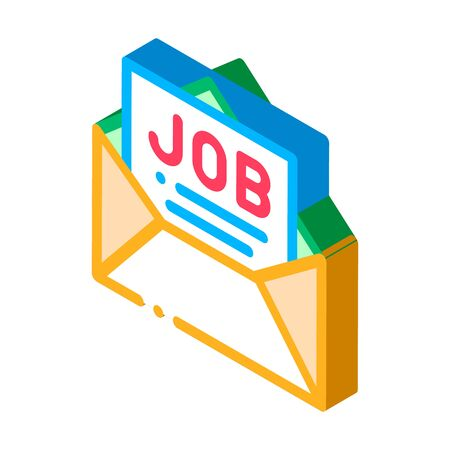 Job Message List Mail In Envelope vector isometric sign. color isolated symbol illustration