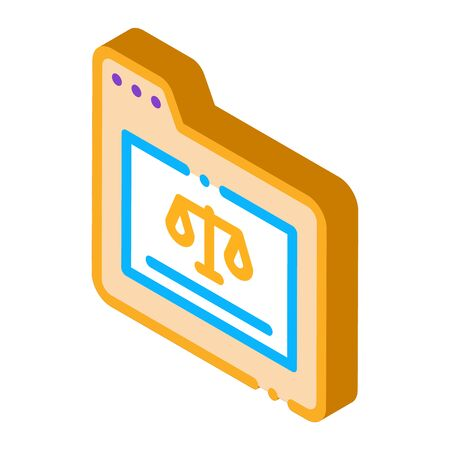 Court Folder Law And Judgement Icon Vector isometric sign. color isolated symbol illustration