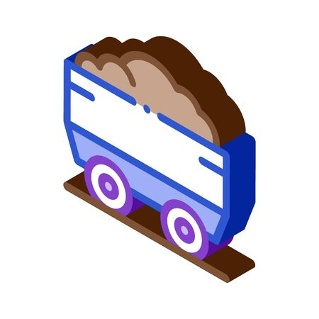 Heavy Truck with Material Metallurgical Icon Vector isometric sign. color isolated symbol illustration Ilustração