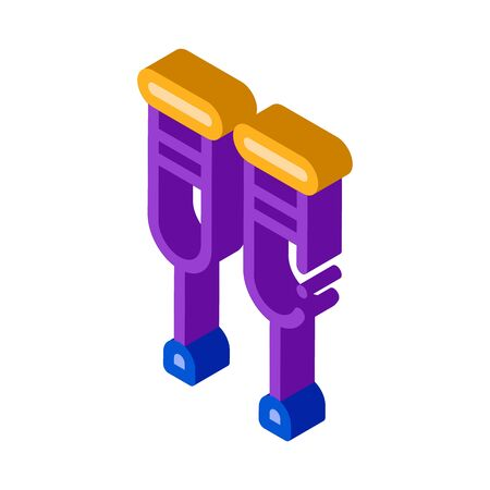 Orthopedic Crutches Walking Equipment vector isometric sign. color isolated symbol illustration