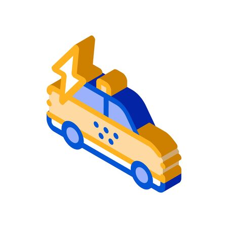 Online Taxi Icon Vector isometric sign. color isolated symbol illustration