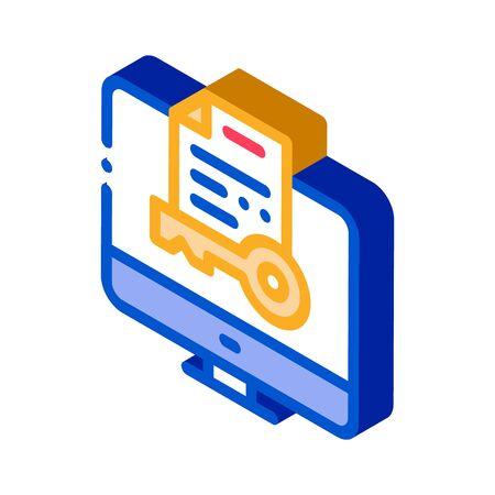 Secret Documents in Computer Icon Vector. Isometric Secret Documents in Computer sign. color isolated symbol illustration