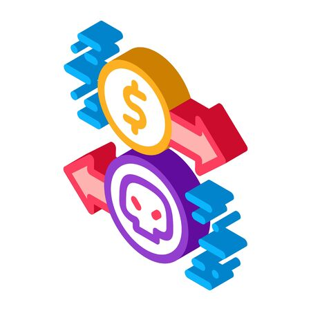 Payment of Hacker Services Icon Vector. Isometric Payment of Hacker Services sign. color isolated symbol illustration