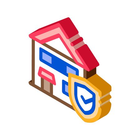 Protective House from Rat Icon Vector. Isometric Protective House from Rat sign. color isolated symbol illustration