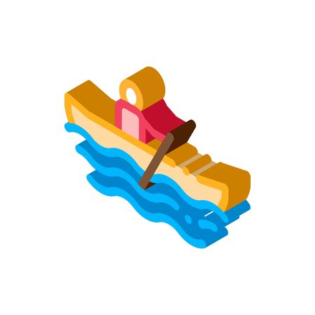 Rowing Boat Canoeing Icon Vector isometric sign. color isolated symbol illustration Çizim