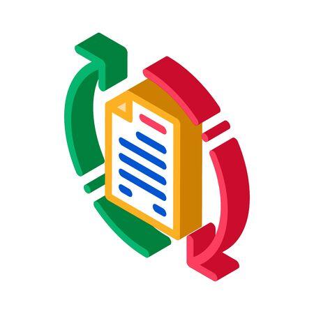 Document Cycle Icon Vector. Isometric Document Cycle sign. color isolated symbol illustration Vektoros illusztráció