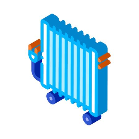 Portable Oil Radiator Heating System vector isometric sign. color isolated symbol illustration