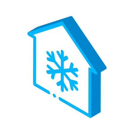 Building And Snowflake Cooling Equipment vector isometric sign. color isolated symbol illustration