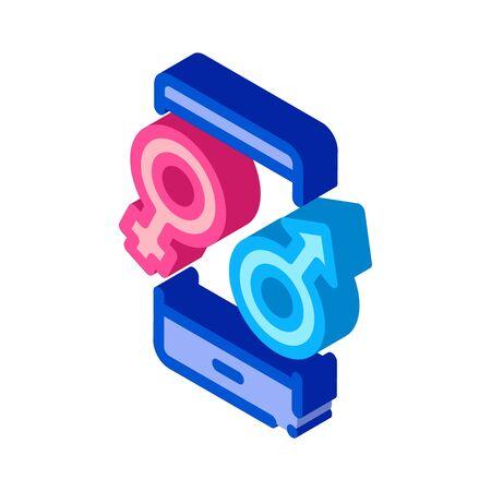 Male and Female Compatibility Icon Vector. Isometric Male and Female Compatibility sign. color isolated symbol illustration