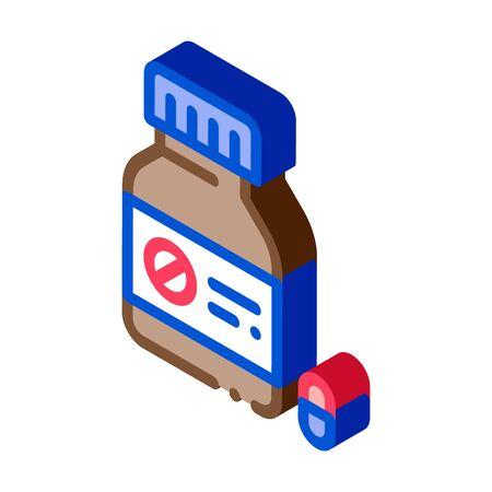Dead Pill Bottle Icon Vector. Isometric Dead Pill Bottle sign. color isolated symbol illustration Ilustración de vector