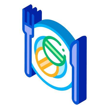 Taking Medication Supplements Icon Vector isometric sign. color isolated symbol illustration Ilustração