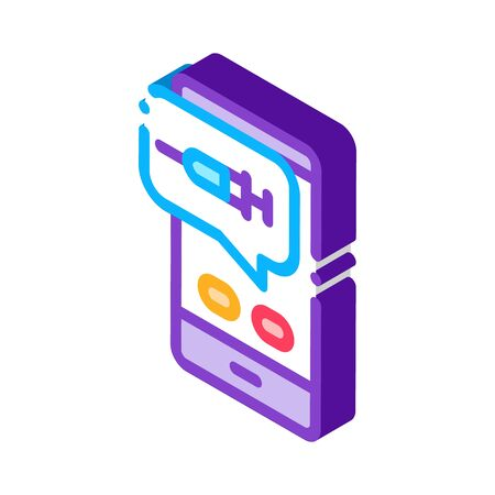 Injection Mobile App Icon Vector. Isometric Injection Mobile App sign. color isolated symbol illustration