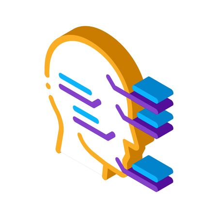 Face Injection Sites Icon Vector. Isometric Face Injection Sites sign. color isolated symbol illustration