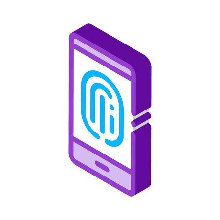Scan Fingerprint in Phone Icon Vector. Isometric Scan Fingerprint in Phone sign. color isolated symbol illustration