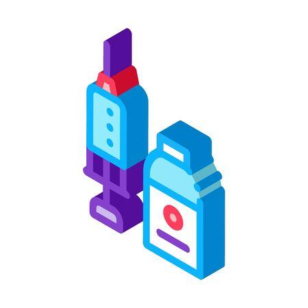 Syringe and Medicine Beaker Icon Vector. Isometric Syringe and Medicine Beaker sign. color isolated symbol illustration Ilustração