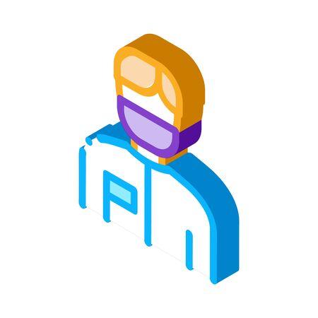 Doctor Surgeon Man Icon Vector. Isometric Doctor Surgeon Man sign. color isolated symbol illustration Çizim