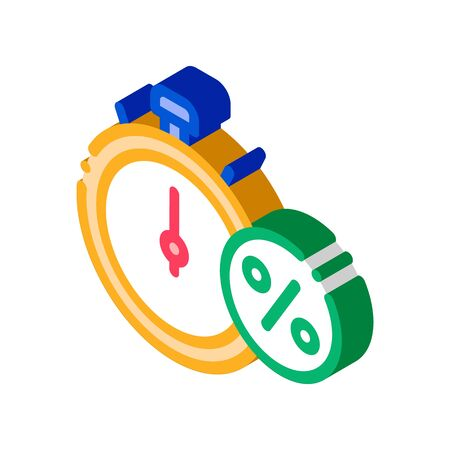 Time is Interest Icon Vector. Isometric Time is Interest sign. color isolated symbol illustration