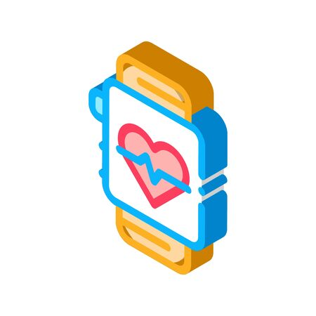 Heart Rate Counter Icon Vector. Isometric Heart Rate Counter sign. color isolated symbol illustration