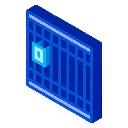 Police Prison Bar Gate Icon Vector. Isometric Police Prison Bar Gate sign. color isolated symbol illustration